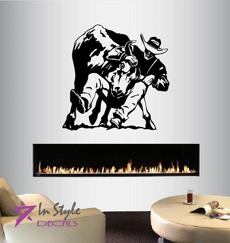 Bull Rider Rodeo (Wall Vinyl Decal Home Decor Art Sticker Rodeo Bull Rider Cowboy Western Sport Room Removable Stylish Mural Unique Design For Any Room Creative Design Logo)