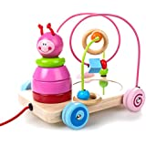 rolimate 8x7x7 inch Pink Color 4 in 1 Wooden Educational Toy, Beads Maze + Pull & Push Toy Cars+ Stacking Baby Toys + Mirror, Best Birthday Gift Toy for age 18 Month and Up Kid Baby Toddler Boy Girl