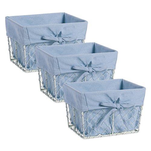 DII Z01913 - Cestas de almacenamiento de alambre de metal para pollo con forro de tela extraíble para decoración del hogar...