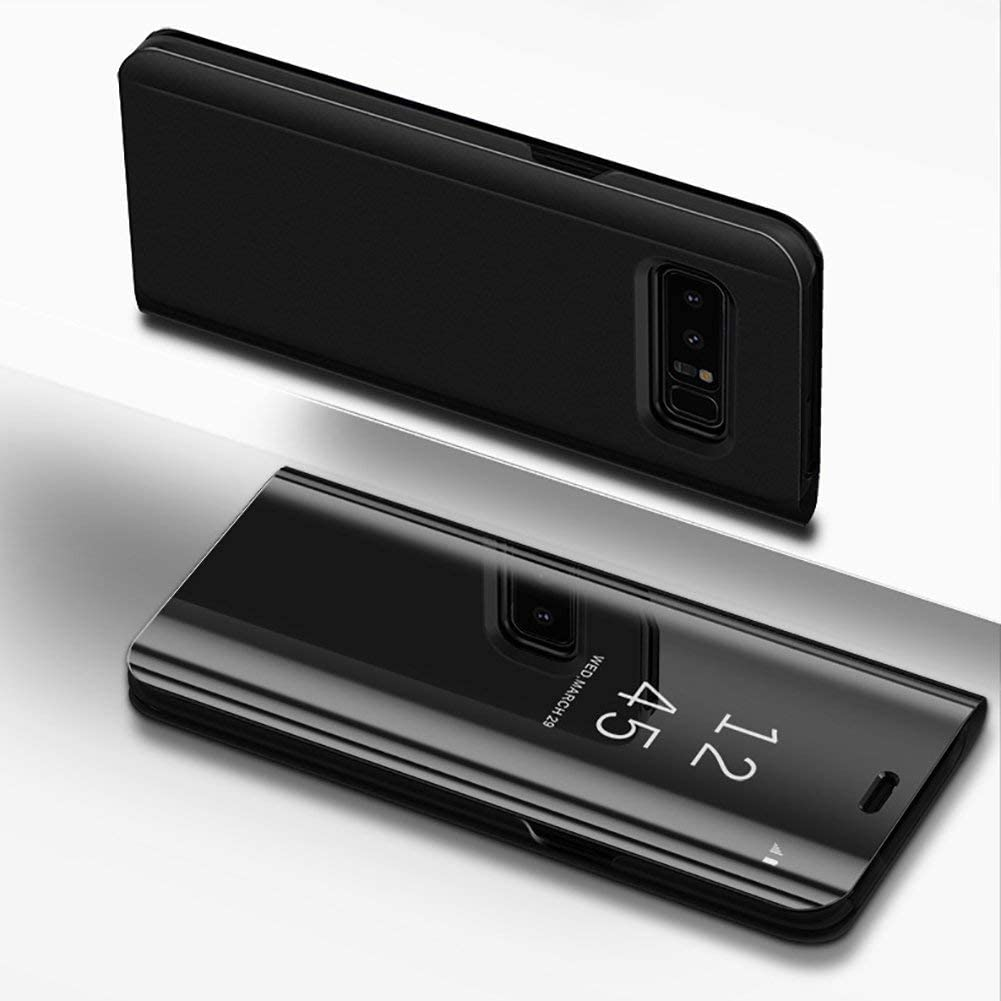 ADL Mirror Smart Clear View Flip Hard Back Case for Samsung Galaxy S8 Black