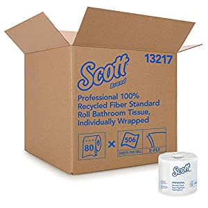 Scott Essential Professional 100% Recycled Fiber Bulk Toilet Paper for Business (13217), 2-Ply Standard Rolls, White, 80 Rolls/Case, 506 Sheets/Roll
