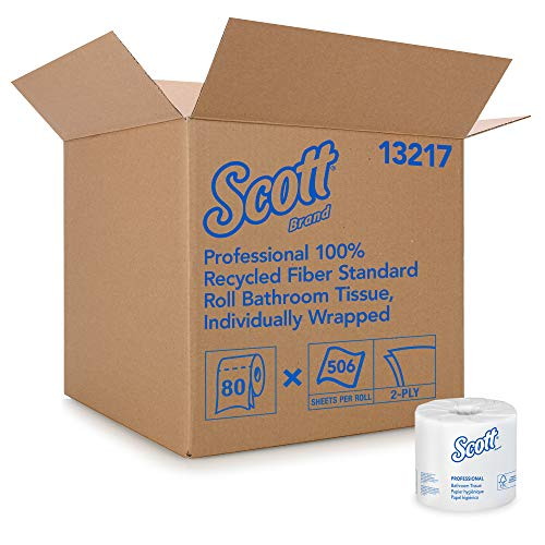 Scott Essential Professional 100% Recycled Fiber Bulk Toilet Paper for Business (13217), 2-PLY Standard Rolls, White, 80…