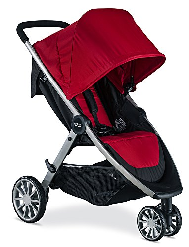 Britax B-Lively Lightweight Stroller - Up to 55 pounds - Car Seat Compatible - UV 50+ Canopy - Easy Fold, Cardinal