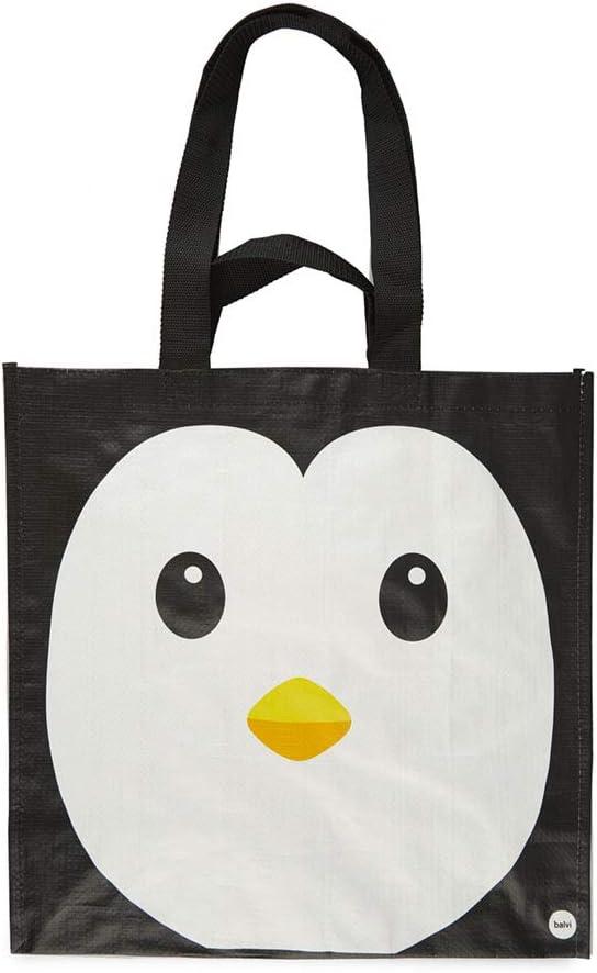 Balvi Bolsa Compra Pingu Color Negro con Bolsillo Interior y Dos tamaños de Asas Diseño de pingüino Plástico Reciclado 40x40x20 cm