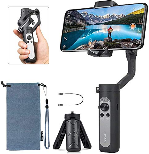 (Renewed) Hohem iSteady X 3 Axis Smartphone Gimbal Foldable Handheld Pocket Stabilizer, 259g Lightweight, Youtuber, Vlogger, Live Video, for iPhone and Android Mobiles (Black)