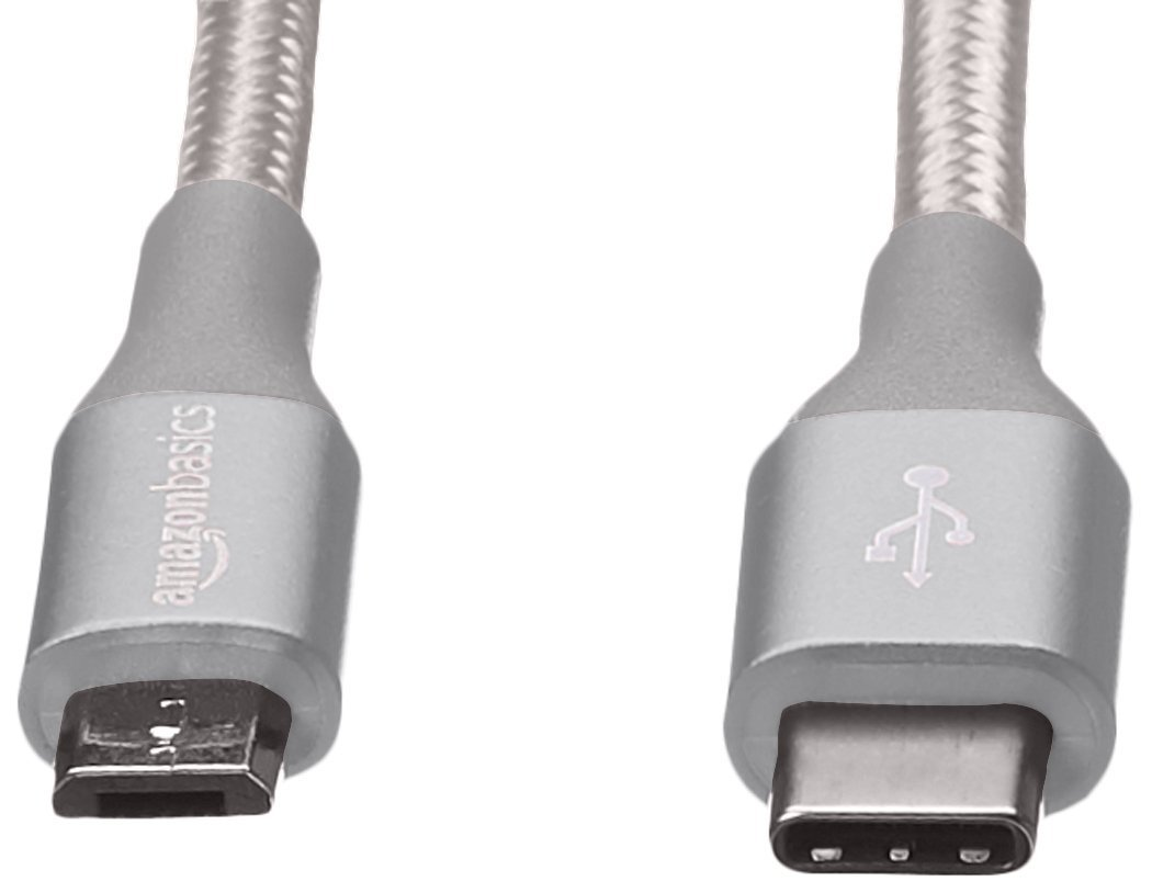 Basics Double Braided Nylon USB Type-C to Micro-B 2.0 Male Charger Cable Silver 10 feet