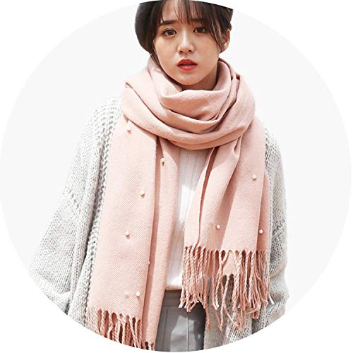 2018 Newest Ladies Solid Color Scarf Pearl Knit Tassel Long Autumn Winter Scarf Warm,Deep Blue,One Size
