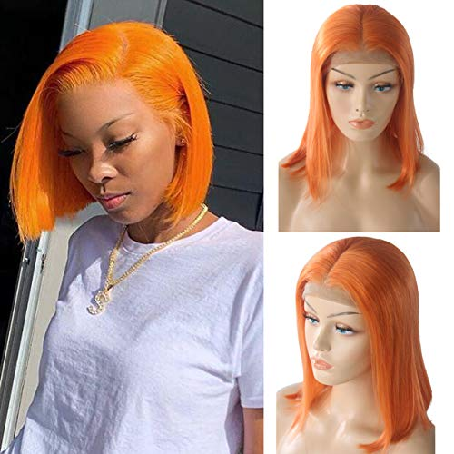 13x4 Glueless Orange Bob Lace Front Wig Human Hair 10 Inch 180% Density Straight Bob Haircut Pre Plucked Middle Part Frontal Lace Wigs Bleached Knots (Best Bob Haircuts For Thin Hair)