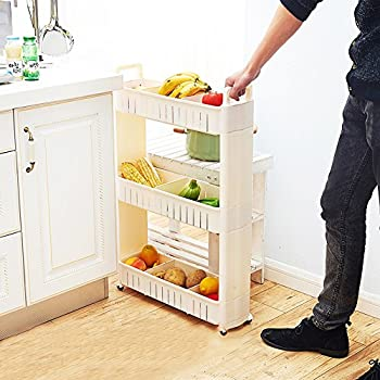 2017 Upgraded Version Gap Slim Slide Out Storage Tower Pantry Spice Rack  Cart With Wheels,
