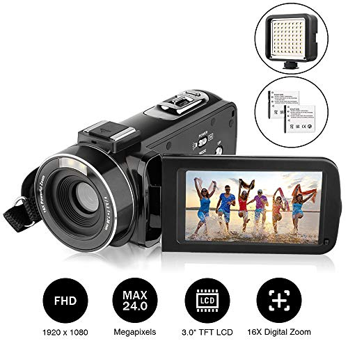 Camcorder, AiTechny Digital Video Camera Full HD 1080P 24.0MP 3.0 inch LCD 270 Degrees Rotatable Screen 16X Digital Zoom Camera Recorder with External LED Supplement Light and 2 Rechargeable Batteries