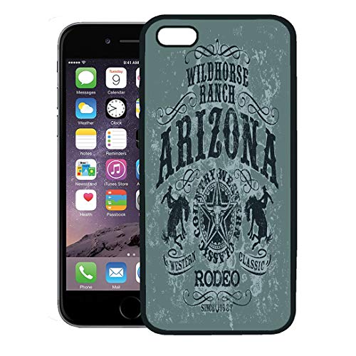 Semtomn Phone Case for iPhone 8 Plus case,Western Arizona Wild Horse Rodeo in Custom Colors Cowboy Country Ranch iPhone 7 Plus case Cover,Black