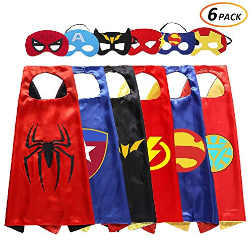 White sugar in summer Superhero Costume and Dress Up for Kids - Satin Capes and Mask Birthday (6 -