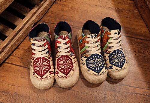 Ausom Womens Embroidery Breathable Non-skip Flats Linen High Top Lace up Shoes Red c5cwucrHX