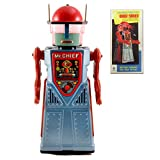 Vintage Style Collectible Chief Smoky Robot Tin Toy Battery Operated Space Man - Blue