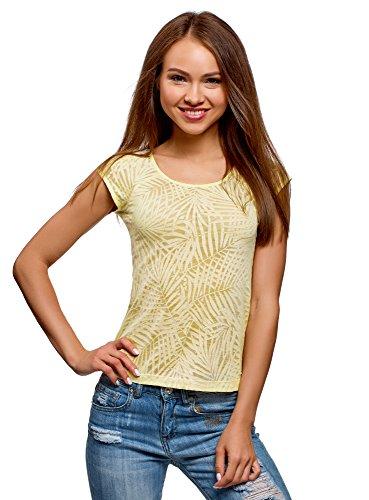 oodji Collection Women's Raglan Sleeve T-Shirt in Textured Fabric, Yellow, US 4 / EU 38 / S