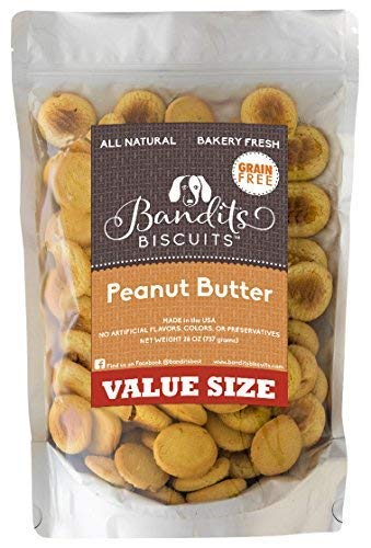 Bandits Biscuits All Natural Grain Free Healthy Peanut Butter Large Dog Treats, 26 oz Bulk Dog Biscuits Made in The USA