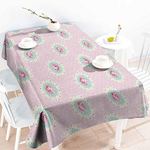 familytaste Shabby Chic,Custom tablecloths Retro Style Polka Dotted Backdrop and Floral Motifs Roses Cottage 60