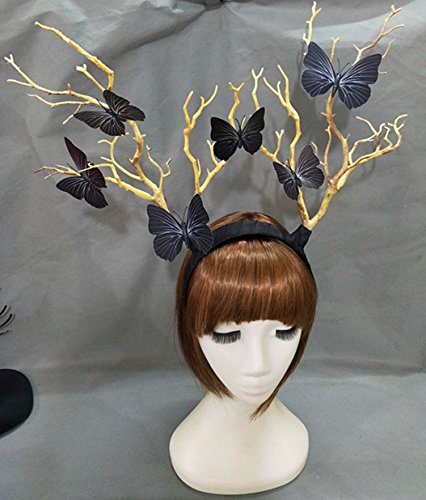 Steampunk Deadwood Horn Headband Sheep Ears Cosplay Headpieces Halloween Lolita Fancy Headdress Kangsanli (with butterfly) -