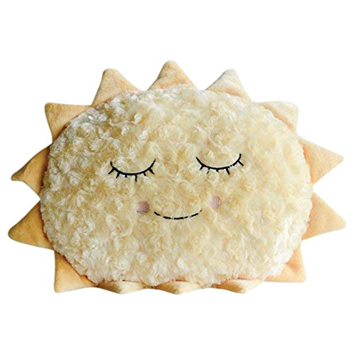 Smiling Sun Golden Rays 16 x 13 Plush Fabric Children's Decorative Pillow -