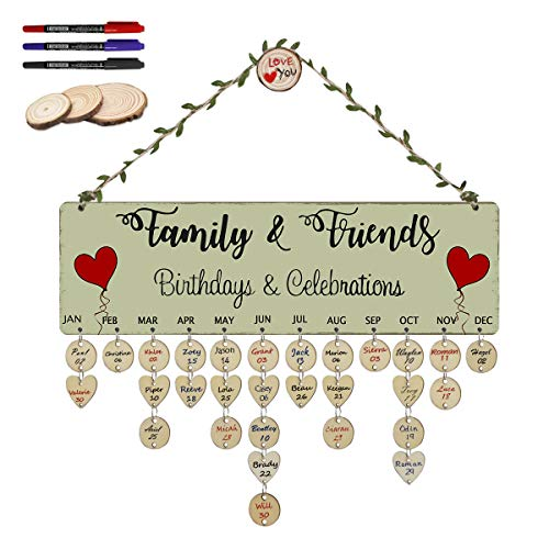 ElekFX Family Birthday Board Wood Wall Hanging Plaque Birthday Celebrations DIY Reminder Heart Wall Calendar Board for Home Decor [with 100 Pack Discs]