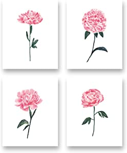 """Watercolor Pink Flower Art Print-Colorful Blossom Floral Canvas Wall Art-(8""""X10""""X4 pieces, Unframed)-Perfect for Living Room Girls Bedroom Decoration"""