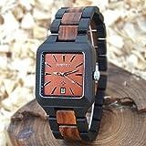 Bewell Handmade Wooden Watch for Men Rectangle Dial Date Display Quartz Wristwatch W110A