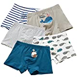 BOOPH Boys Underwear, 5-Pack Baby Toddler Boxer Brief Short Whale Striped Ocean Blue Underpant Little Boy 3-4 Years