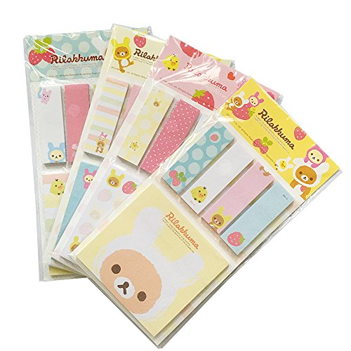 HEMALL 4 x Cute Strawberry Bear Sticker Bookmark Point It Marker Memo Flags Sticky Notes