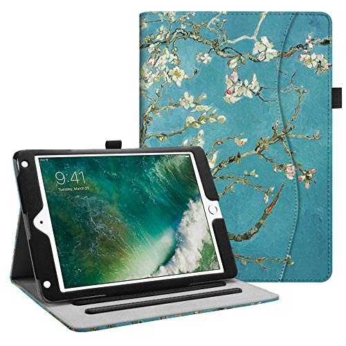 (Fintie iPad 9.7 2018 2017 / iPad Air 2 / iPad Air Case - [Corner Protection] Multi-Angle Viewing Folio Cover w/Pocket, Auto Wake/Sleep for iPad 6th / 5th Gen, iPad Air 1/2, Blossom)