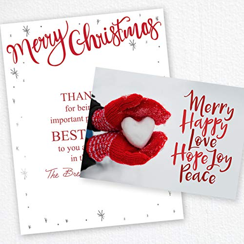 Red Mittens Heart Holiday Christmas Card - Set of 25 cards, 5'' x 7'' folded. Verse inside. Made in the USA. Blank white - Blank Canopy