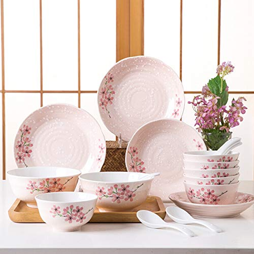 Porcelain bowl Dish Set Ceramic Tableware Set 18 Plate Bowl With Underglaze Gift Box With Cherry Blossom Ceramic salad bowl (Color : Pink, Size : One size)