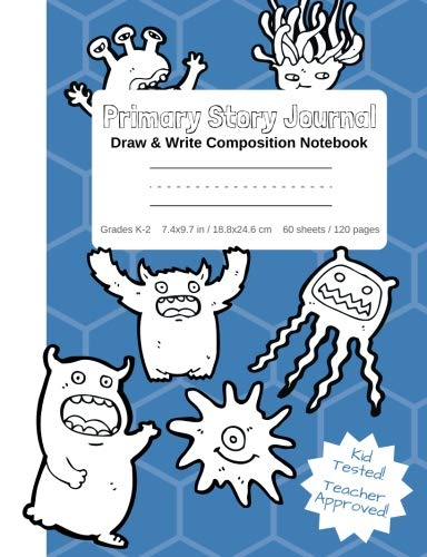 Primary Story Journal - Draw & Write Composition Notebook Grades K-2 | Cute Fun Monsters Cover to Color! Kindergarten to Early Childhood Dotted ... (Monster Coloring Composition Book Series) -