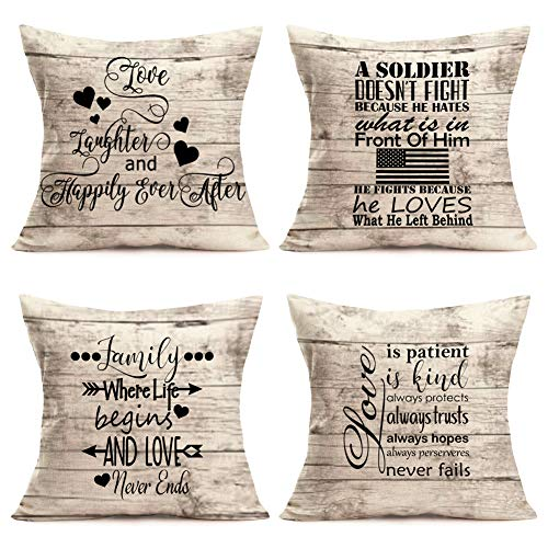 (Asminifor Pillow Covers Inspirational Phrase with Retro Wooden Background Decorative Throw Pillow Case Cushion Cover for Love Pillowcase Home Office 18