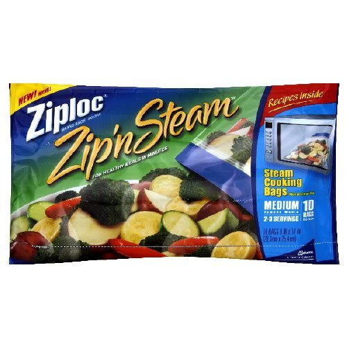 Ziploc Zip 'n Steam Microwave Cooking Bags, Medium 10-Count (Pack of 6) - Microwave Bag