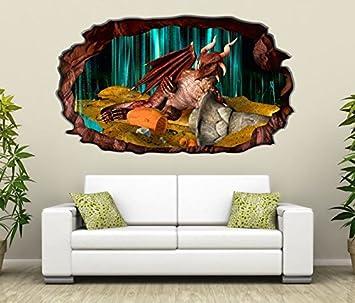 3D Wandtattoo Drache Dragon Schatz Kinderzimmer Bild Selbstklebend Wandbild  Sticker Wohnzimmer Wand Aufkleber 11H1364, Wandbild
