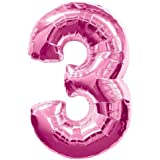 "Large Pink Number 3 Foil Helium Balloon 30""/76.2cm (Not Inflated)"