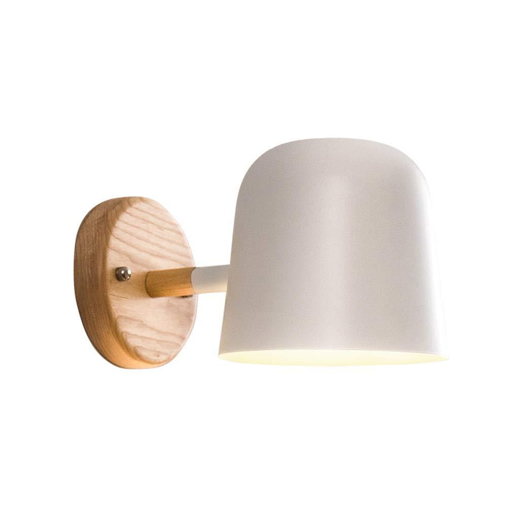 ATR Wandleuchte Einfache Moderne Wandleuchte Schlafzimmer Nachttischlampe Nordic Wandbehang Lampe Massivholz Weiß Schmiedeeisen Spiegel Scheinwerfer