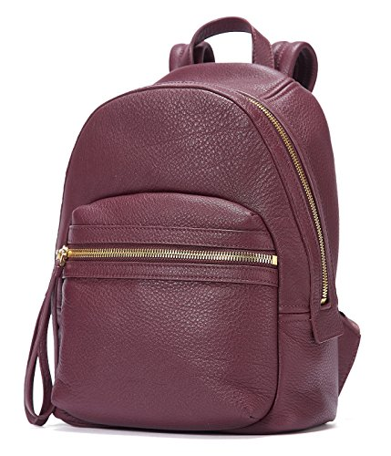 EMINI HOUSE Women Genuine Leather Backpack School Bag Girls Ladies Daily Purse Travel Bag Rucksack-Wine Red by EMINI HOUSE