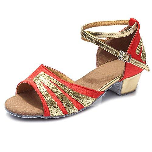 YFF Damen Latein tango Ballroom Dance Schuhe für Frauen/Damen/Mädchen Tango, 5 cm, blau, 4,5