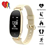 Activity Tracker, TechCode Bluetooth Waterproof Smart Watch Fashion Women Ladies Heart Rate Monitor Fitness Tracker Watch for Android IOS iPhone 6/7/8 Plus, iPhone X, Samsung S8/S9/Note 8 (Gold)