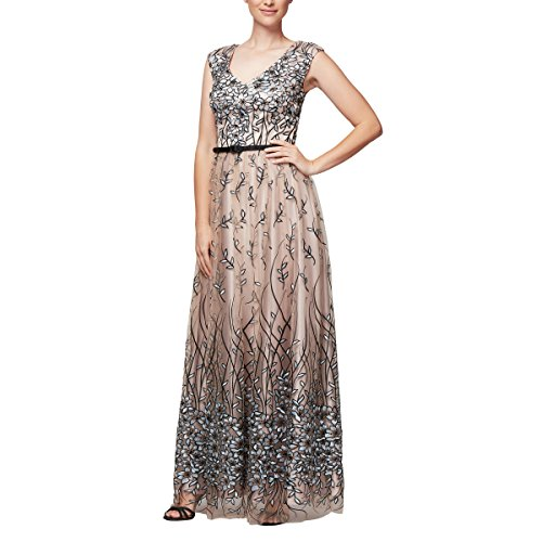 Alex Evenings Women's Sleeveless V-Neck Embroidered Gown with Satin Detail, Nude Multi, 16