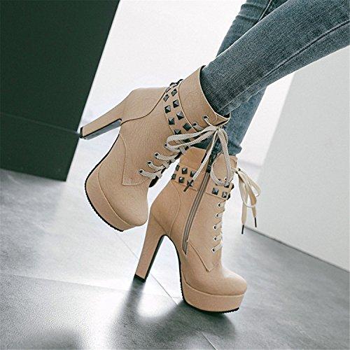 Delle Beige Grosso Stivali Odetina Alti Piattaforma Della Sexy Donne Borchie Tacchi Scarpe Caviglia Partito 1fUt4wx6q1
