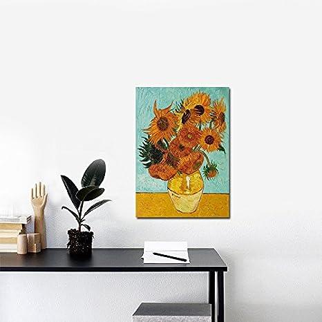 ART-HDeck Impression sur Toile intissee Vase Van Gogh aux bleuets et Coquelicots Tableau 1 Partie Tableaux Decoration Murale Stretch et Cadre Photo Image Artistique Pr/êt /à accrocher 40x60cm