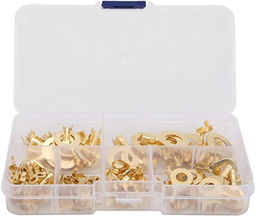 Amazon Com Rockyin 150pcs Ring Terminals Brass Cable Connector Wiring Accessories Electrical Parts Flame Retardant Home Kitchen