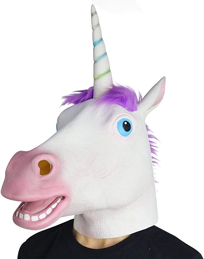 Amazon.com: Amazlab Unicorn Mask for Halloween Costume Party ...