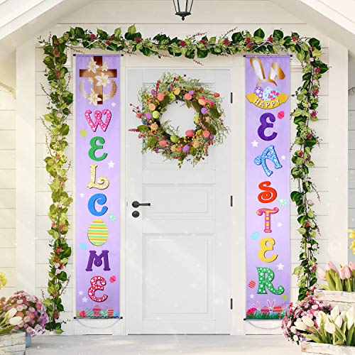 Blulu Easter Decoration Set Easter Porch Sign Welcome Happy Easter Banner Easter Poster Door Hanger for Spring Indoor/Outdoor Easter Door Decoration Party (Light Purple) (Easter Outdoor Decorations)
