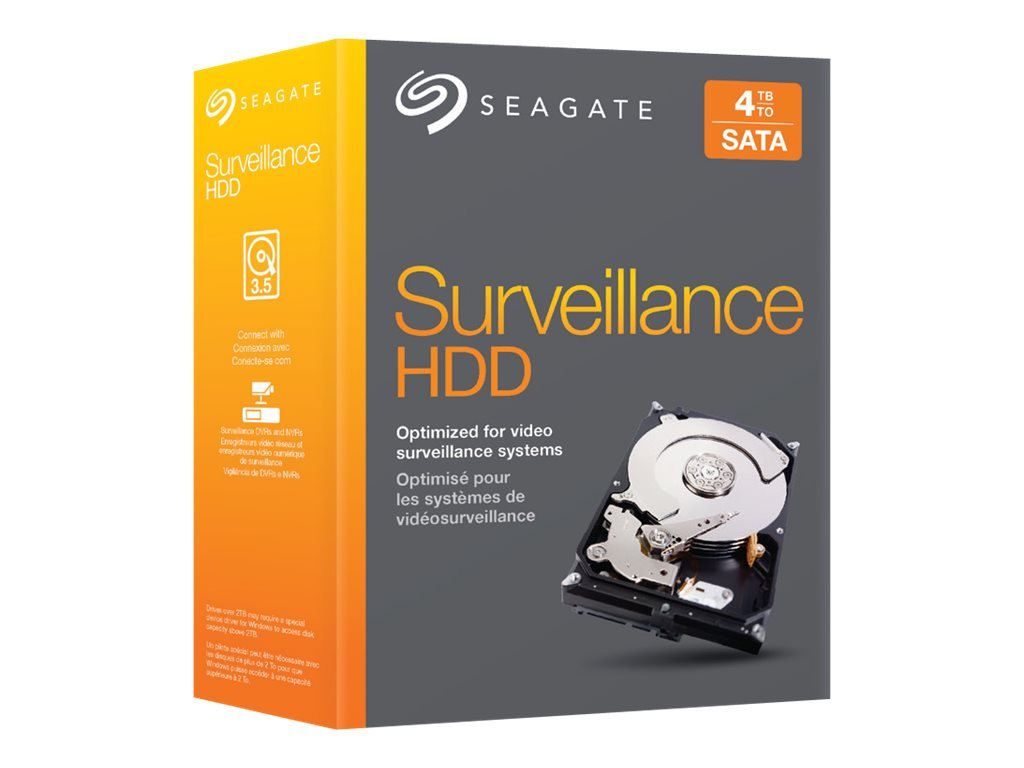 Seagate 4TB Video Surveillance HDD SATA 6Gb/s 64MB 3.5'' Internal Bare Drive Retail Kit (STBD4000101)