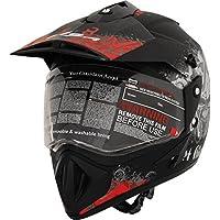 Vega Off Road Gangster OFRGDBR1 Helmet (Dull Black and Red, M)