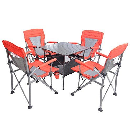 MCCOutdoor-klappbare Stühle portable Deluxe Klapptisch und Stühle set Straße Reise Grill Strand Stuhl Stühle mit fünf Stück Abdeckung