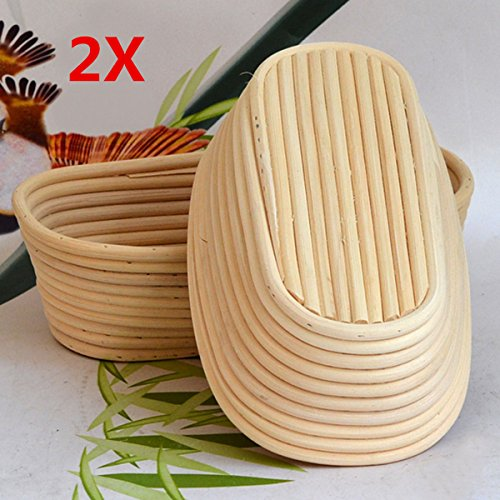 Jeteven 11 inch Banneton Bread Proofing Basket with Liner, Oval Perfect Brotform Proofing Rattan Basket for Making Beautiful Bread, Pack of 2 by Jeteven